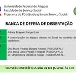 Banca de defesa de dissertação de Adrielly Brayner Rangel Lins